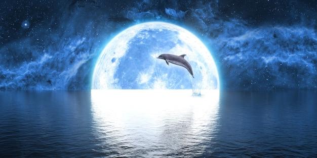 Dolfijn die uit het water springt tegen de achtergrond van de grote maan, 3d illustratie