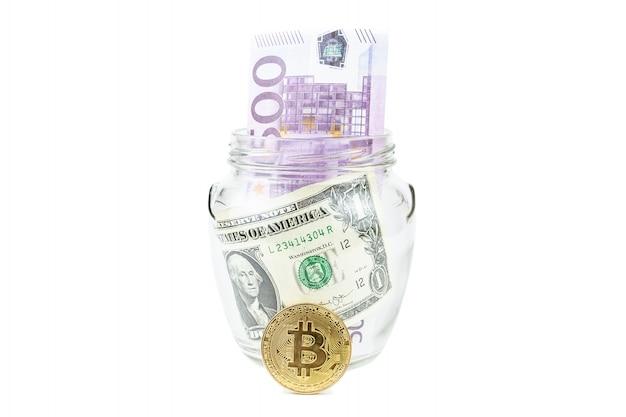 Dollar en bitcoin witte achtergrond
