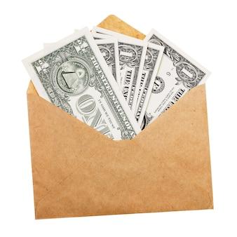 Dollar in envelop geïsoleerd op witte achtergrond grijs betalen concept