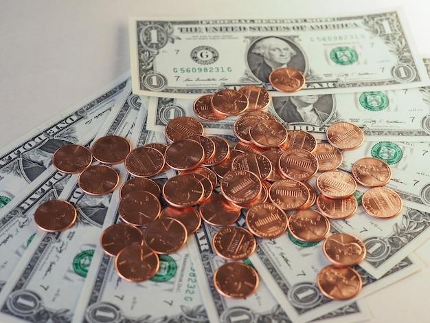 Dollar (usd) biljetten en munten, verenigde staten (vs)