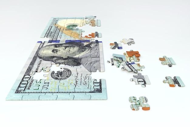 Dollar van puzzelstukjes, 3d-rendering