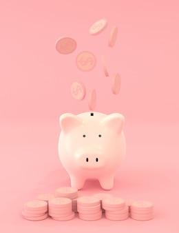 Dollarmuntstukken die over roze spaarvarken op roze kleur vallen, die geldconcept met het 3d teruggeven besparen