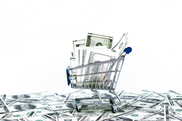Dollars in boodschappenwagentje dat op witte achtergrond wordt geïsoleerd