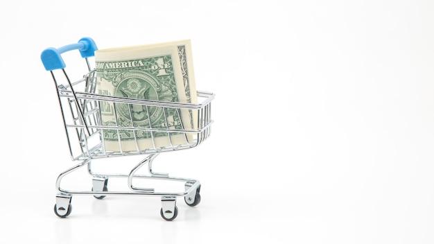 Dollars in een supermarktmandje. eten en goederen kopen. bedrijf te koop. aankopen sparen
