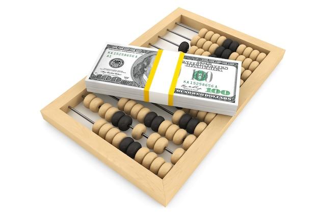 Dollars met een houten telraam op een witte achtergrond