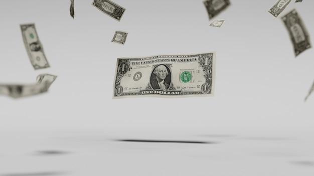 Dollars vallen door de lucht, tegen een witte achtergrond. 3d illustratie