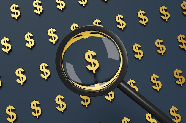 Dollarteken gezien door een vergrootglas.