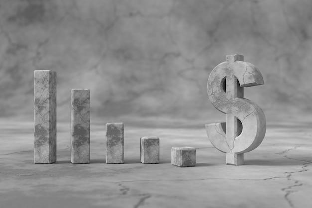 Dollarteken met het concept van lage wisselkoersen. 3d-weergave.
