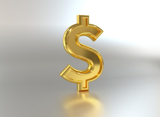 Dollarteken metalen munt 3d