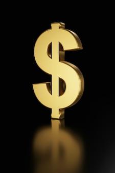 Dollarteken op zwart. 3d-redering.