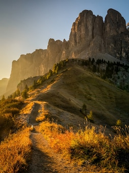 Dolomiet, italië landschap in passo gardena.