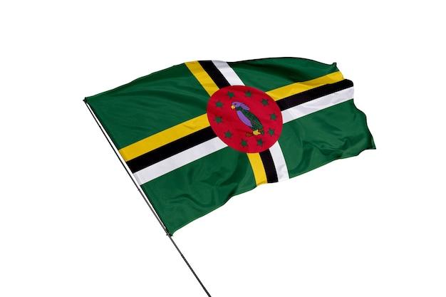 Dominica vlag op een witte achtergrond