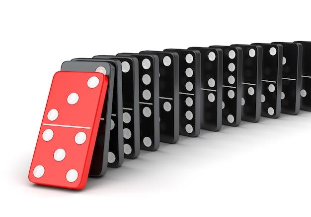 Domino tegels effect. ruwe van vallende dominostenen geïsoleerd op een witte achtergrond.