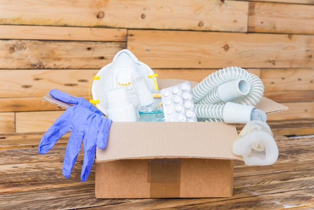 Donatie box in een pandemie vooraanzicht