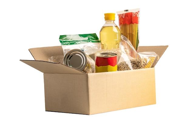 Donatie box voedselhulp voor arme mensen in de wereld geïsoleerd op witte achtergrond