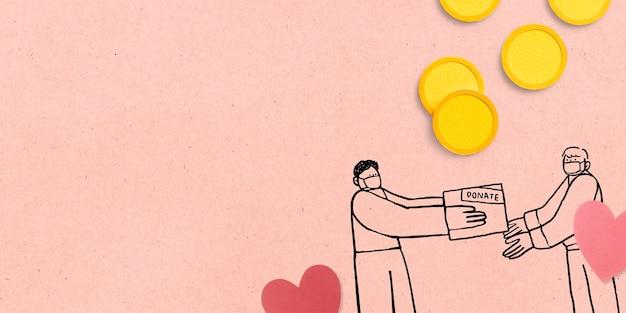 Donatie van papierambachten tijdens de covid-19-achtergrond