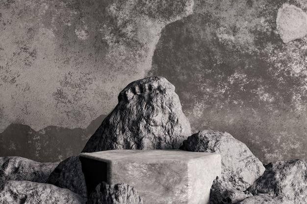Donker betonnen podium met ingebedde stenen voor productvertoning