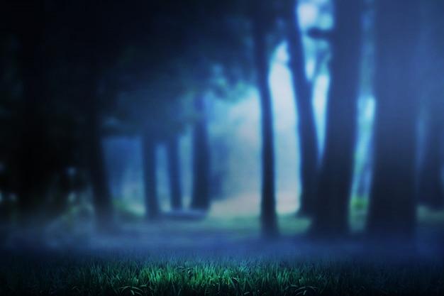 Donker bos en mist