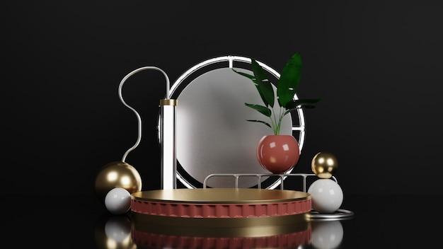 Donker glanzend podium met lamp