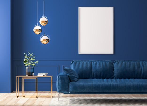 Donker interieur met blauwe meubels