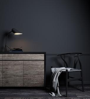 Donker interieur van woonkamer met zwarte muur, stoel en houten console, moderne luxe woonkamer interieur achtergrond
