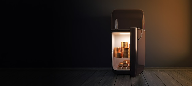 Donker koelkastgeheim - glanzende gouden en gouden muntstukkenstapel in retro koelkast in een donkere lege 3d ruimte - geef terug