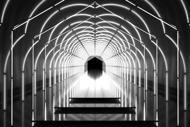 Donker zeshoekig tunnel glanzend podium. abstracte achtergrond. lichtreflectiefase. geometrische neonlichten. 3d illustratie