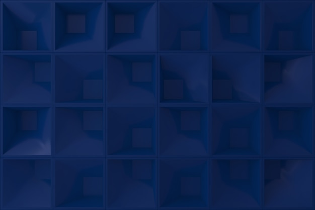 Donkerblauwe 3d muur vierkante vorm voor achtergrond.