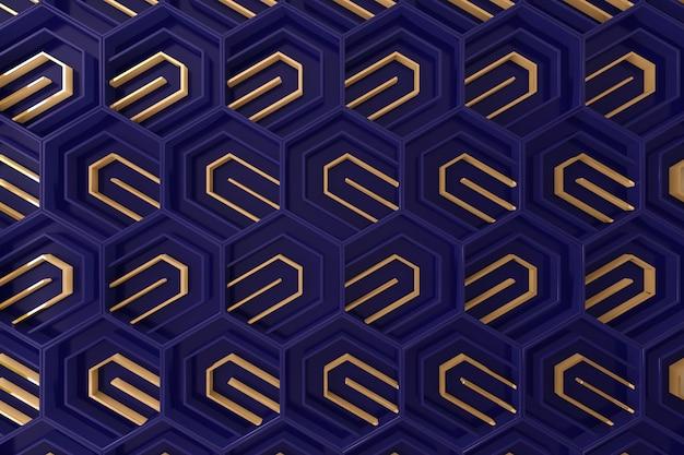 Donkerblauwe en gouden driedimensionele achtergrond