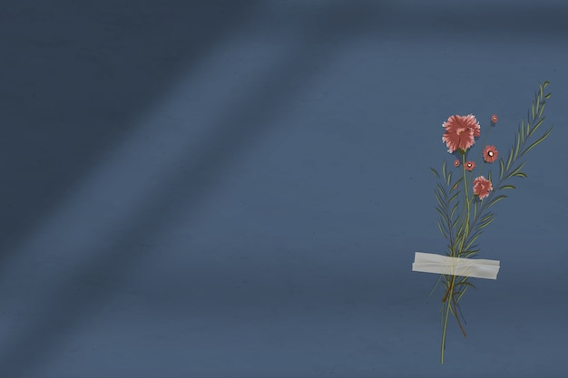 Donkerblauwe muurschaduwachtergrond met bloem