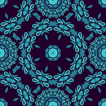 Donkerblauwe naadloze patroon mandala met de hand geschilderd