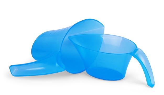 Donkerblauwe plastic gieter voor de kleuren