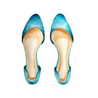 Donkerblauwe schoenenwaterverf die op wit wordt geschilderd