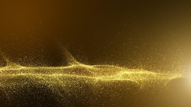 Donkerbruin met kleine deeltjes verzameld in lichtgolven goudgele schaduwen.