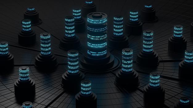Donkere 3d render van abstract opslagconcept. server- of gegevenscentralisatieverwerking.