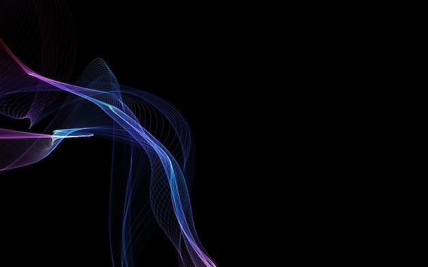 Donkere abstracte achtergrond met een gloeiende abstracte golven, abstracte achtergrond