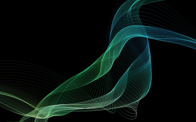 Donkere abstracte achtergrond met gloeiende abstracte golven.