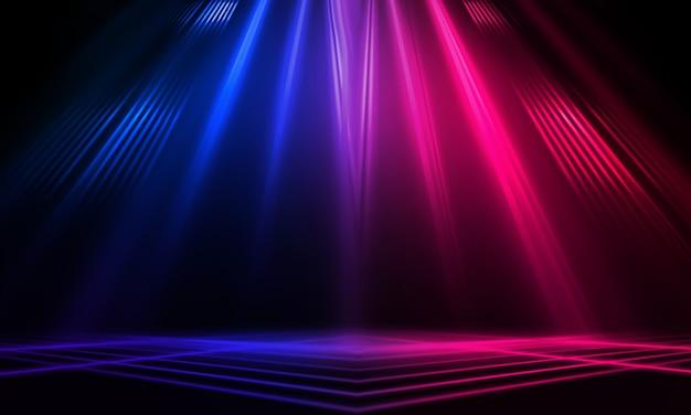 Donkere abstracte achtergrond met neon lijnen en stralen
