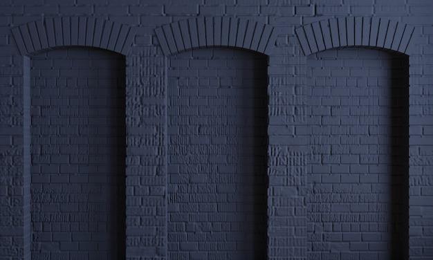 Donkere achtergrond baksteen bogen loft muur