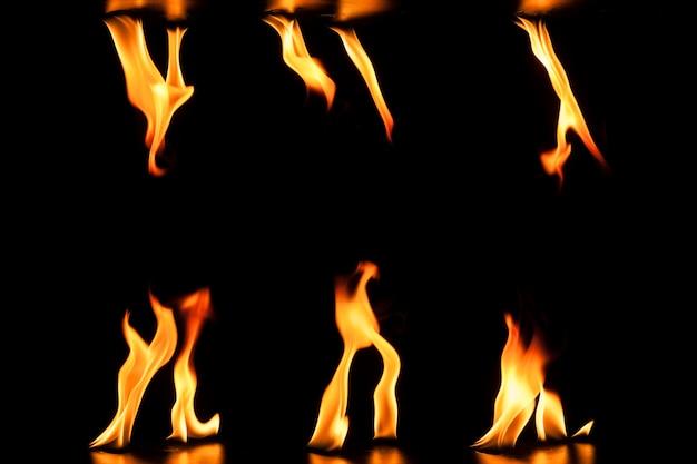 Donkere achtergrond met verscheidenheid van vlammen