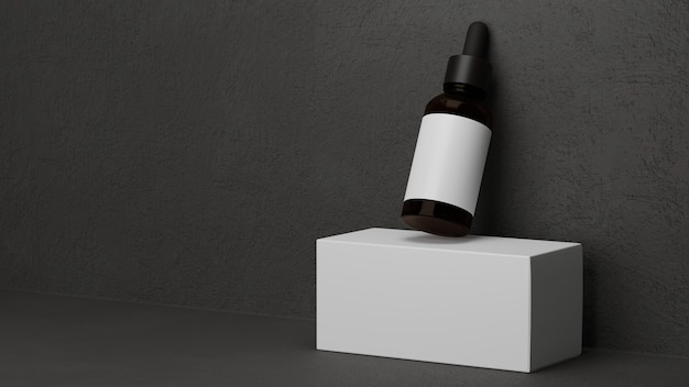 Donkere amberkleurige glazen fles huidverzorging druppelaar cosmetica voor mannen met donkergrijze achtergrond mannen essentieel
