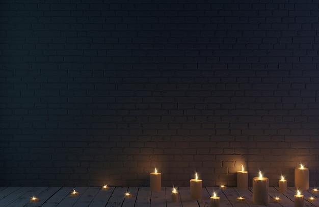Donkere bakstenen muur achtergrond en kaarsen