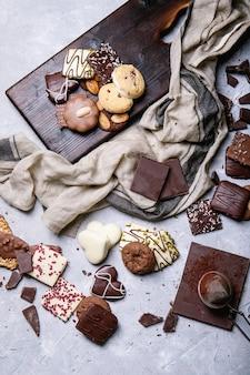Donkere chocolade en snoep
