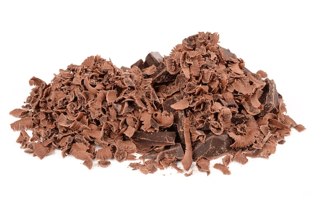 Donkere chocolade op een witte achtergrond