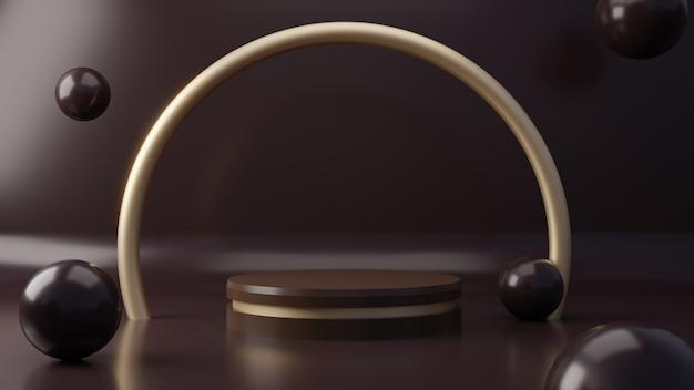 Donkere chocoladekleur product voetstuk staan op de achtergrond