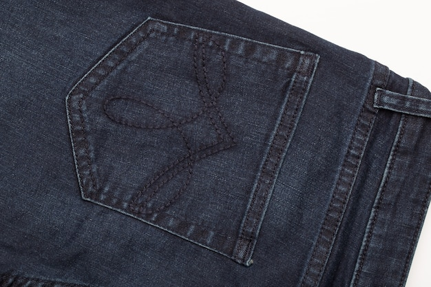 Donkere denim jeans close-up