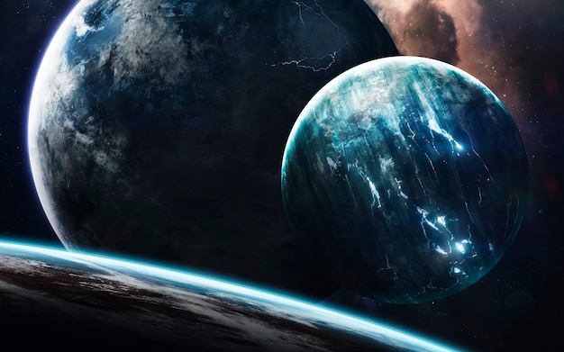 Donkere diepe ruimte met gigantische planeten in de ruimte