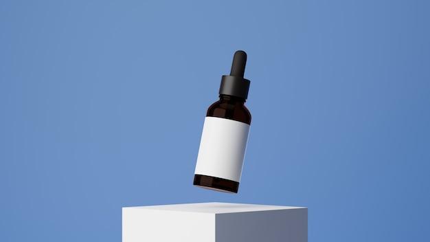 Donkere ember glazen druppelaar bruin glazen cosmetische fles met white label huidverzorging op blauwe achtergrond