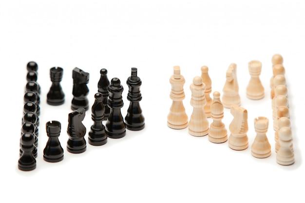 Donkere en witte stukken schaak