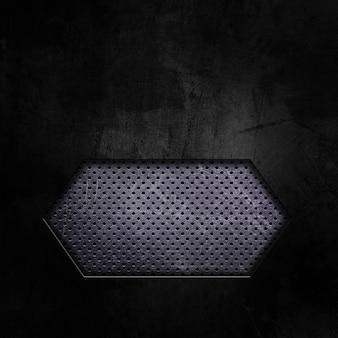 Donkere grunge met knipsel die geperforeerd metaal toont